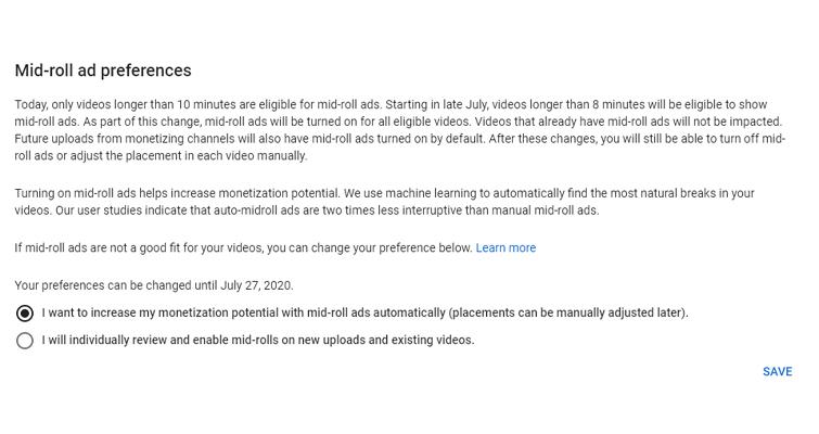 Cambiar la preferencia de anuncio de mitad de rollo en YouTube