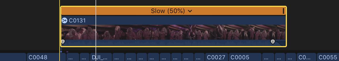 Atajo de teclado FCPX personalizado: Cmd + S - Tiempo de espera: lento 50%