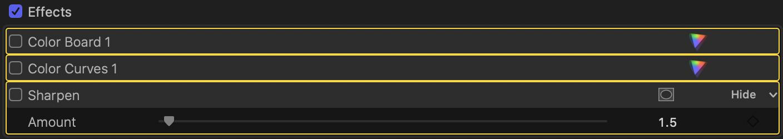 Método abreviado de teclado FCPX personalizado: activar / desactivar los efectos