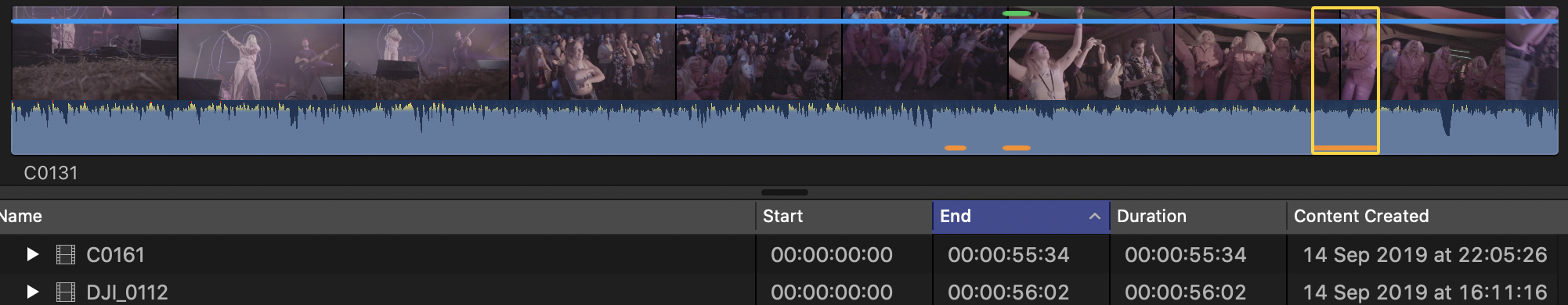 Atajo de teclado FCPX personalizado: Y - Alternar tira de película / Vista de lista
