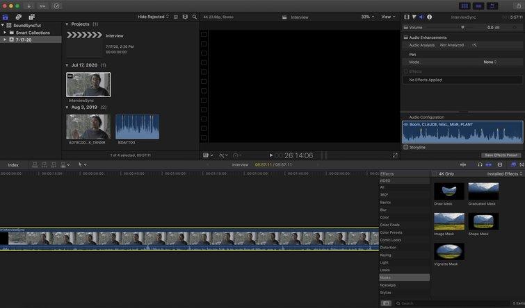 Final Cut Pro X: arrastre el clip a la línea de tiempo
