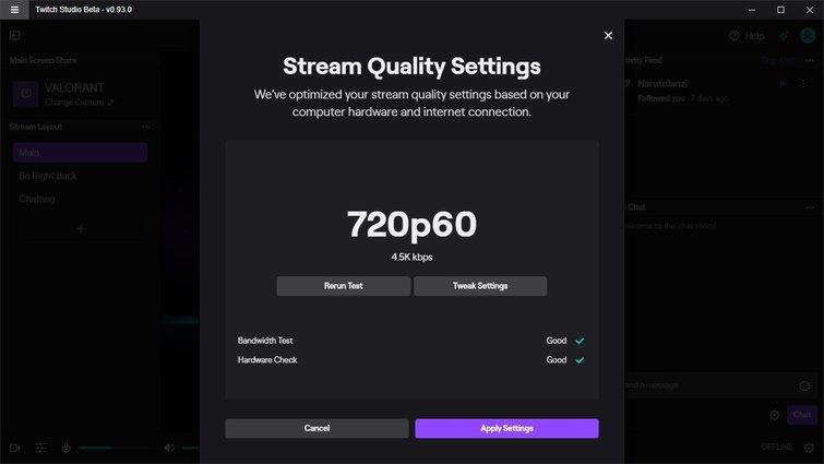Twitch Studio: configuración de calidad de transmisión
