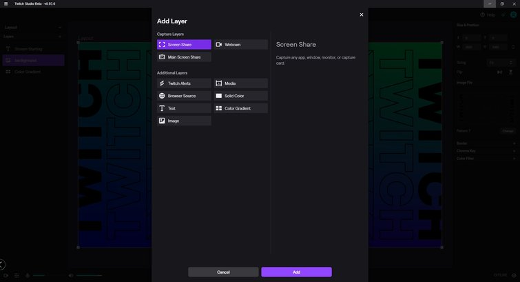 Twitch Studio: agregar capa