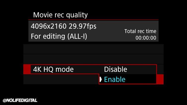 Configuración: Calidad de grabación de película