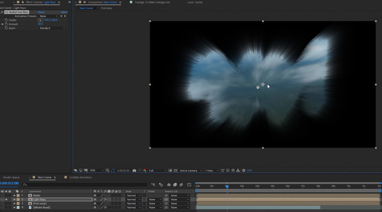Transición del portal en After Effects: copias precomp.