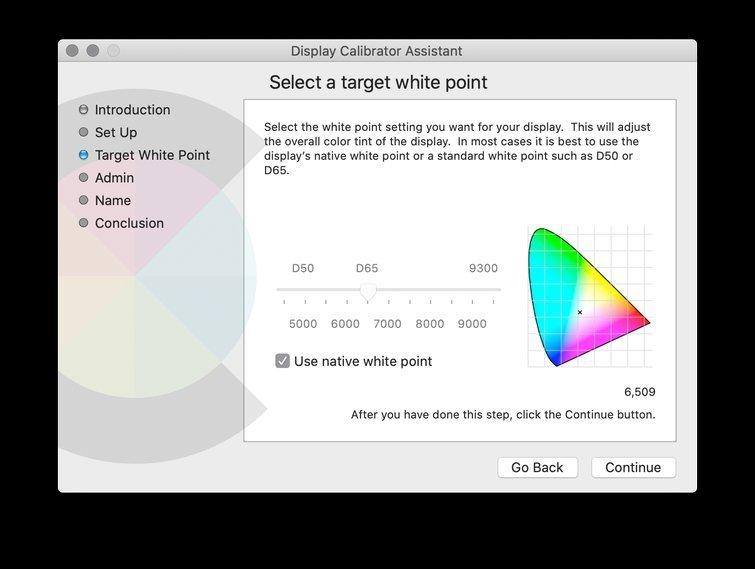 Calibrar con macOS: ajustar la configuración del punto blanco