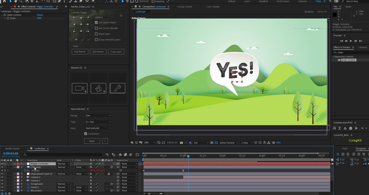 After Effects: efecto de control deslizante